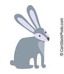 Cute rabbit cartoon hand drawn vector illustration in flat style. Can be used for printing on t-shirts, children s clothing, children s invitation cards. Beautiful gray hare in scandinavian style