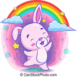 Cute rabbit dancing with rainbow background