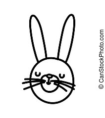 cute rabbit face cartoon character on white background thick line