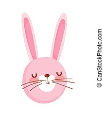 cute rabbit face cartoon character on white background