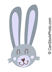 Cute rabbit faces cartoon hand drawn vector illustration in flat style. Can be used for printing on t-shirts, baby clothes, children s invitation cards. Gray bunny in scandinavian style