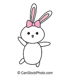 cute rabbit female animal isolated icon