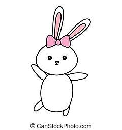 cute rabbit female animal isolated icon