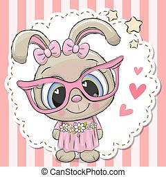 Cute Rabbit girl in pink eyeglasses
