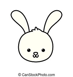 cute rabbit head cartoon icon thick line