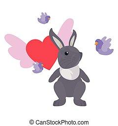 cute rabbit hearts love