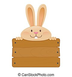 Cute Rabbit Holding a Blank Wooden Sign Board