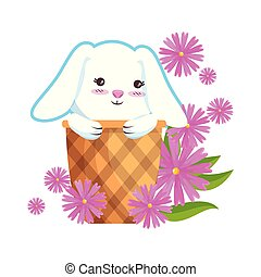 cute rabbit in basket with flowers