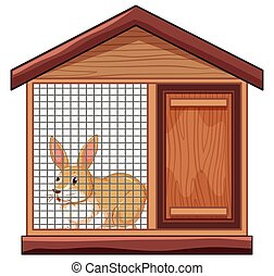 Cute rabbit in cage illustration