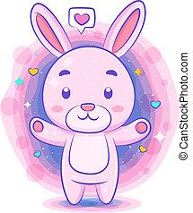 Cute rabbit in love kawaii character