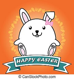 Cute rabbit inside circle badge for Happy easter concept on Orange background