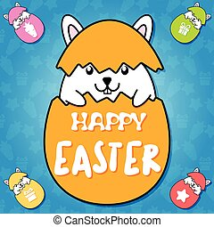 Cute rabbit inside orange egg on blue background in Happy easter concept