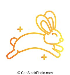 cute rabbit jump animal white background gradient style icon