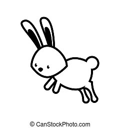 cute rabbit jump line style icon