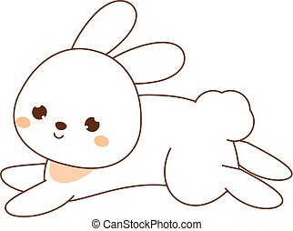 Cute rabbit. Kawaii Bunny. White hare jumping. Cartoon...
