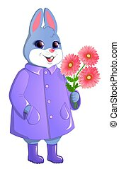 Cute rabbit with a bouquet of gerberas.