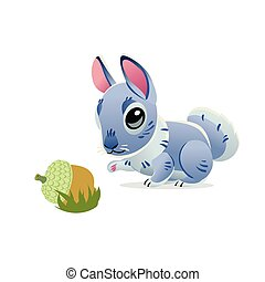 Cute rabbit with an acorn isolated on white background. Vector illustration of cartoon gray hare. Mid Autumn Festival collection.