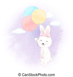 Cute rabbit with balloon hand drawn cartoon illustration
