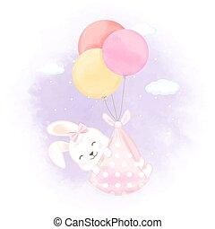 Cute rabbit with balloon hand drawn newborn cartoon illustration