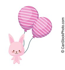 cute rabbit with balloons helium