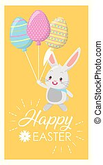 cute rabbit with balloons shaped eggs
