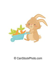 Cute rabbit with blue wheelbarrow full of carrot. Cute brown bunny with long ears and short tail. Flat vector icon