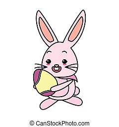 cute rabbit with easter egg