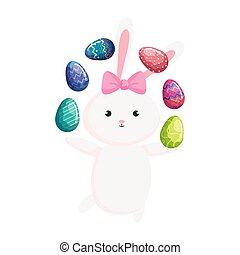 cute rabbit with eggs easter isolated icon