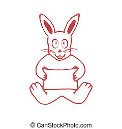 Cute Rabbit with Empty Banner Drawin