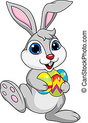 Cute rabbit with ester egg - Vector illustration of cute...