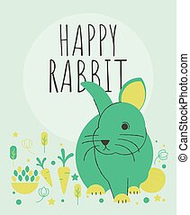 Cute rabbit with flowers and plants greeting card