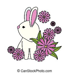 cute rabbit with flowers garden