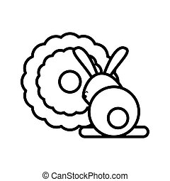cute rabbit with lace line style icon