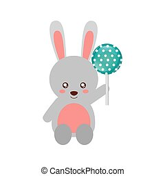 cute rabbit with lollipop sweet candy
