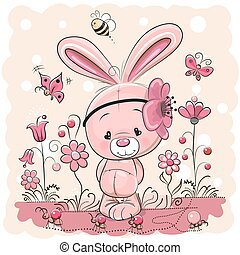Cute rabbit with on a pink background
