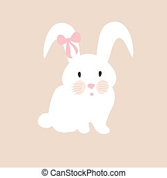 cute rabbit with pink bow, illustration, set for baby fashion
