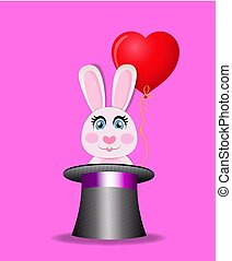 Cute rabbit with red heart balloon sitting in black magic hat