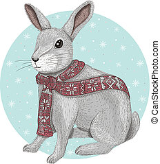 Cute rabbit with scarf winter background