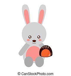 cute rabbit with sweet chocolate candy
