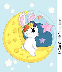 cute rabbit with the moon set in flat vector style