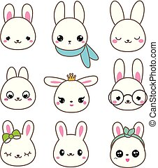 Cute rabbits. Bunny faces in kawaii style. Vector icons set