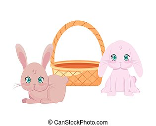 cute rabbits with basket wicker