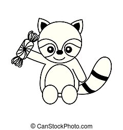 cute raccon with sweet candy wrapper