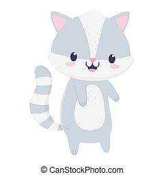 cute raccoon animal cartoon isolated icon
