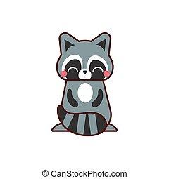 cute raccoon animal comic character
