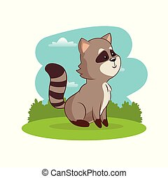 cute raccoon animal with landscape