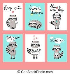Cute raccoon cards vector template set