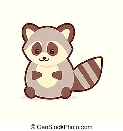 cute raccoon cartoon comic character with smiling face happy emoji anime kawaii style funny animals for kids concept