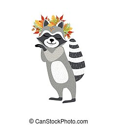 Cute Raccoon Character With Autumn Leaves Chaplet. Cartoon...