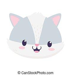 cute raccoon face animal cartoon isolated icon